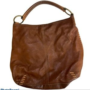 Lucky Brand Brown Leather Boho Whipstitch Hobo EUC